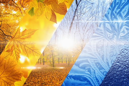 Beautiful nature seasonal background - two seasons of year collage. Vibrant colorful images of different time of year - fall and winter. 스톡 콘텐츠