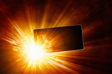 Exploding mobile phone, overheating battery cells, smartphone low-quality battery explosion