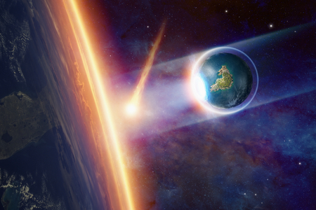 salvation: Abstract sci-fi background - humankind salvation from asteroid impact, escape from dying planet Earth, end of world.
