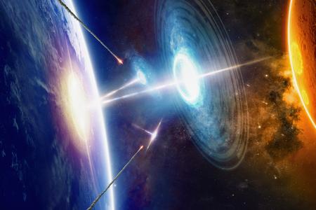 Fantastische achtergrond - buitenaardse aliens ruimteschepen raakt de planeet Aarde, buitenaardse invasie, raketafweer van ufo, ruimte oorlog. Stockfoto