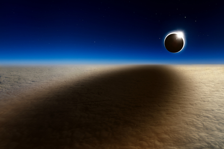 Amazing scientific background - aerial view of total solar eclipse, mysterious natural phenomenon when Moon passes between planet Earth and Sun. Stock Photo