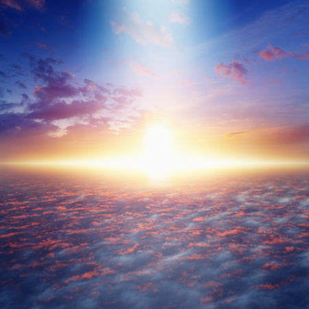 életmód: Csodálatos idilli háttér - út a mennybe, és az örök életet, világos fény ég, izzó horizont, rózsaszín felhők