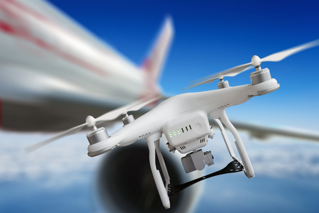 Dangerous incident - aircraft passed just near drone and avoided collisions Stock Photo