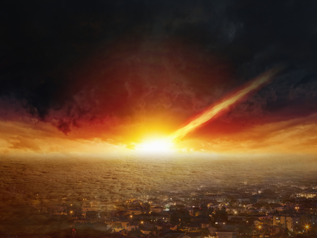 Dramatic apocalyptic background - judgment day, end of world, asteroid impact Reklamní fotografie - 71162238