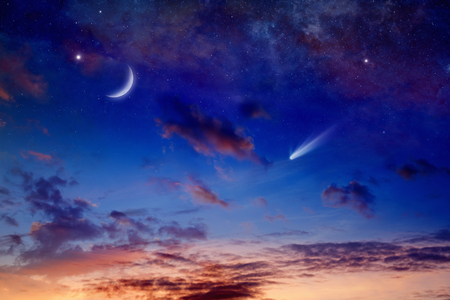 glowing star: Astronomical scientific background - bright comet, falling star and crescent in glowing sunset sky. Elements of this image furnished by NASA