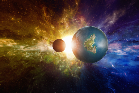 potentially: Sci-fi background - discovered Earth-like potentially habitable planet with liquid water. Elements of this image furnished by NASA Stock Photo