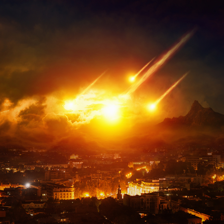 Dramatic apocalyptic background - judgment day, end of world, asteroid impact destroying city