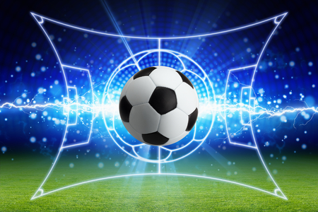 Abstract sports background - soccer ball, bright blue lightning, green football field with layout Stock Photo