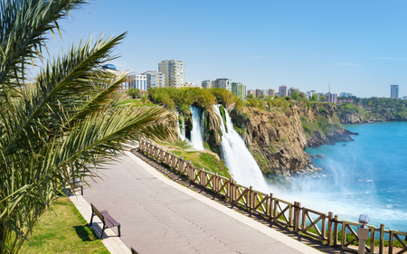 Aerial view of Lower Duden waterfall in Antalya, Turkey. Water cascading from platform into Mediterranean sea in sunny summer day. Stock Photo