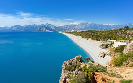 Aerial view of beautiful blue lagoon and Konyaalti beach in Antalya, Turkey