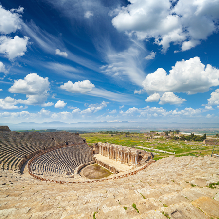 Ruins of antique amphitheater in Hierapolis Holy City near Pamukkale, Turkey