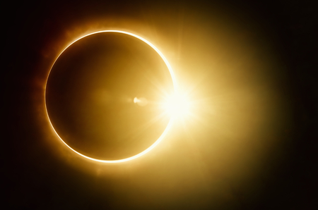 Amazing scientific - total solar eclipse, mysterious natural phenomenon when Moon passes between planet Earth and Sun