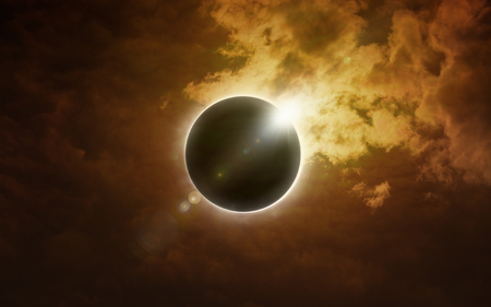 Amazing scientific background - total solar eclipse in dark red glowing sky, supernatural phenomenon, Moon passes between planet Earth and Sun