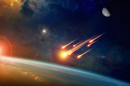 Asteroid impact, end of world, judgment day. Group of burning exploding asteroids from deep space approaches to planet Earth