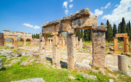 Frontinus Street at Hierapolis ancient city adjacent to modern Pamukkale in Turkey