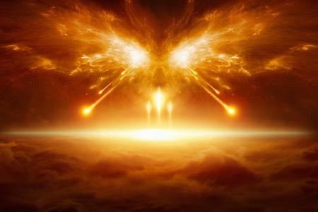 Apokalyptischer religiöser Hintergrund - Ende der Welt, Kampf um Armageddon, Kräfte des Bösen zerstören die Menschheit Standard-Bild