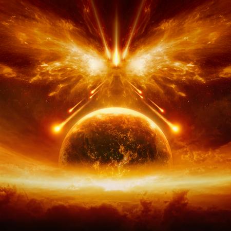 Dramatischer apokalyptischer Hintergrund - Gerichtstag, Ende der Welt, völlige Zerstörung des Planeten Erde, Schlacht um Harmagedon, Mächte des Bösen zerstören die Menschheit.