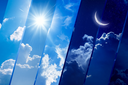 Opposites in nature: day and night, light and darkness, sun and moon. Weather forecast background. Reklamní fotografie