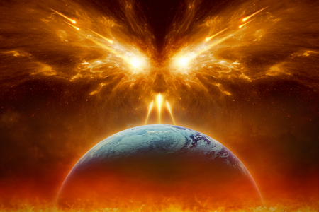 Religious apocalyptic background - judgment day, end of world, complete destruction of planet Earth, absolute evil, forces of evil destroy humanity.