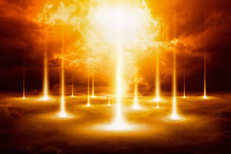 Epic doomsday background - end of world, judgment day, forces of evil destroy humanity