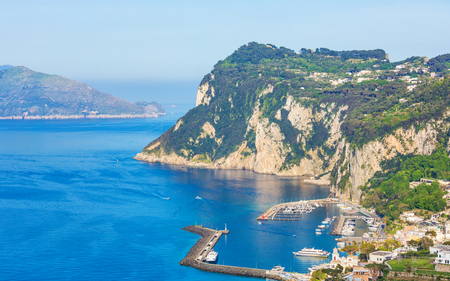 Aerial view of Marina Grande, Capri island, Italy. Sunny summer weather, clear blue sky.