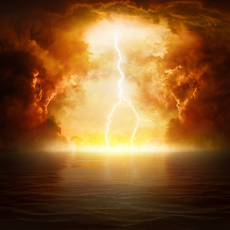 Apocalyptic religious background - hell realm, bright lightning in dark red apocalyptic skies, judgement day, end of world, eternal damnation
