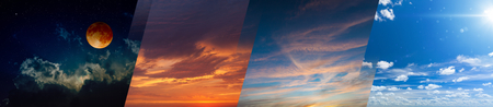 Times of day collage: sunny day, dark night, red sunset and sunrise. Opposites in nature: light and darkness, sun and moon. Elements of this image furnished by NASA Foto de archivo