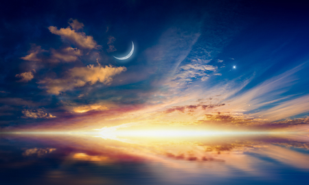 Amazing surreal background - crescent moon, glowing clouds and bright star are reflected in serene sea.