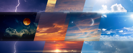 Weather forecast background, collage of skies photos with variety weather conditions - bright sun and blue sky, dark sky with lightnings, sunset and night.