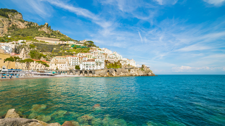 Daylight view of beautiful seaside city Amalfi in province of Salerno, in region of Campania, Italy. Amalfi coast on is popular travel and holyday destination in Europe. Stock Photo