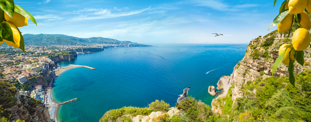 Panoramic view of cliff coastline Sorrento and Gulf of Naples in Italy. Ripe yellow lemons in foreground.