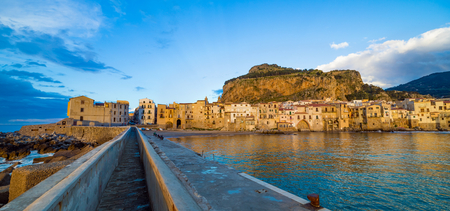 Sunset view of Cefalu, city in Italian Metropolitan City of Palermo located on Tyrrhenian coast of Sicily, Italy.