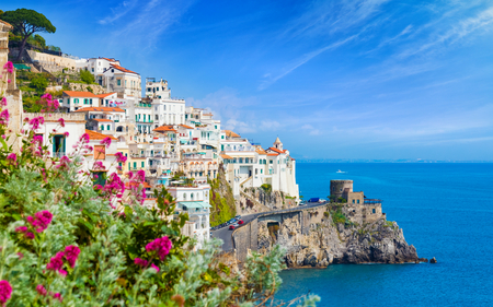 Daylight view of beautiful seaside city Amalfi in province of Salerno, in region of Campania, Italy. Amalfi coast on Gulf of Salerno is popular travel and holyday destination in Italy.