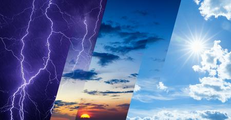 Concepto de pronóstico del tiempo, fondo de cambio climático, collage de imagen del cielo con condiciones climáticas variadas: sol brillante y cielo azul, cielo tormentoso oscuro con relámpagos, puesta de sol brillante