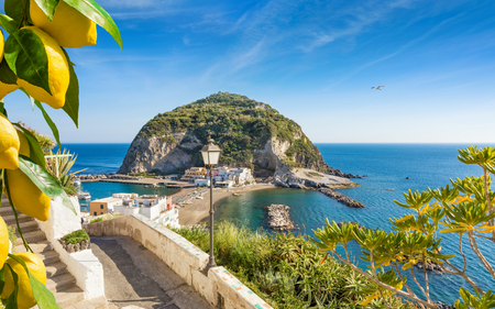 Beautiful coast of village SantAngelo, giant green rock in blue sea near Ischia Island, Italy. Sunny day, blue sky with white clouds and azure sea. Bunches of fresh yellow ripe lemons on foreground.