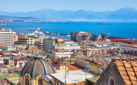 Aerial daylight view of beautiful seaside city Naples and Bay of Naples, Italy.