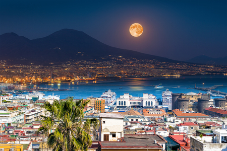 Mount Vesuvius, Naples and Bay of Naples, Italy. Opposites in nature: day and night, light and darkness.