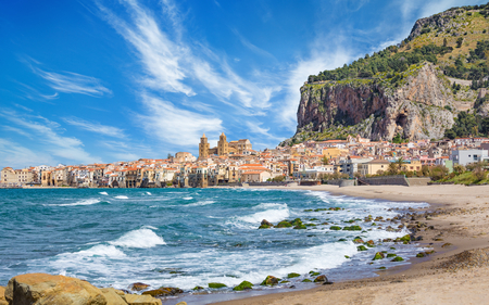 Cefalu is town in Italian Metropolitan City of Palermo located on Tyrrhenian coast of Sicily, Italy. Cefalu is popular travel destination in Europe because of long sandy beach and clear blue sea.
