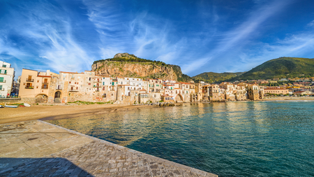 Sunset view of Cefalu, small resort city in Italian Metropolitan City of Palermo located on Tyrrhenian coast of Sicily, Italy Stock Photo