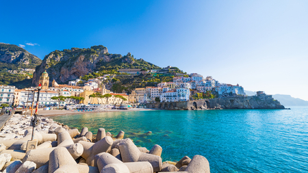 Morning view of beautiful seaside town Amalfi in province of Salerno, region of Campania, Italy. Amalfi coast is popular travel and holyday destination in Europe.
