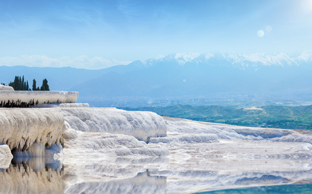 Pool with clear hot water from thermal spring in Pamukkale, Denizli Province in southwestern Turkey. Pamukkale, literally