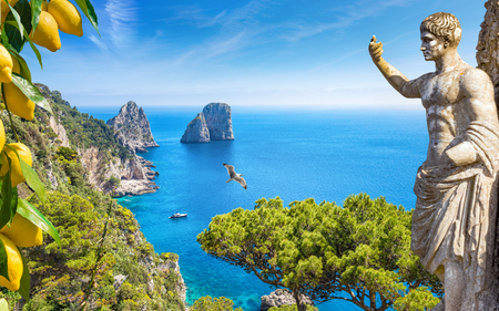 Collage with famous Faraglioni Rocks in blue sea, statue of Emperor Augustus and bunches of fresh yellow ripe lemons in Capri Island, Italy