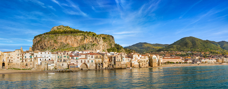 Panoramic view of Cefalu, town in Italian Metropolitan City of Palermo located on Tyrrhenian coast of Sicily, Italy. Cefalu is popular travel destination in Europe because of long beach and clear sea.