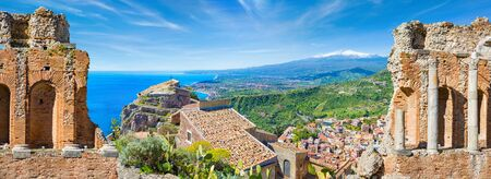 Welcome to Taormina concept. Panoramic collage with ancient Greek theatre and Church of Madonna della Rocca in Taormina, Sicily, Italy. Etna Volcano is on background. Reklamní fotografie
