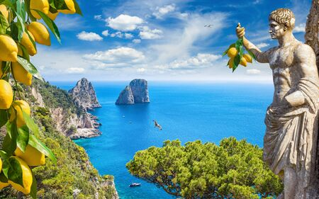 Collage with famous Faraglioni Rocks in blue sea and statue of Emperor Augustus holding bunch of fresh yellow ripe lemons in hand, Capri Island, Italy.