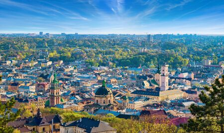 Panoramic aerial view of colourful houses in historical old district of Lviv, Ukraine. Lviv is one of main cultural centres and largest city and in western Ukraine.