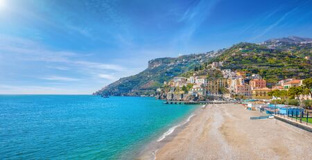 Blue sea and beach in Minori, attractive seaside town at centre of Amalfi Coast, province of Salerno, in Campania region of south-western Italy. Reklamní fotografie