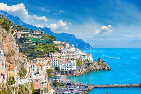 Daylight view of beautiful seaside city Amalfi in province of Salerno, in region of Campania, Italy. Amalfi coast on is popular travel and holyday destination in Europe. Reklamní fotografie