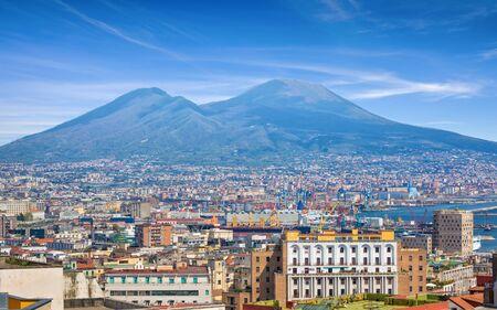Naples, sea port in Gulf of Naples and Mount Vesuvius, Campania region, Italy. Reklamní fotografie