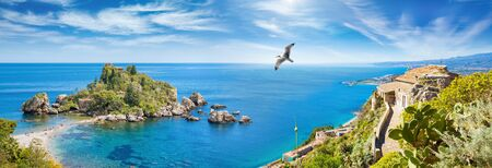Welcome to Taormina concept. Panoramic collage with beautiful Isola Bella, small island near Taormina and Church of Madonna della Rocca built on rock, Sicily, Italy.